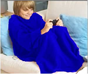Matching Bedrooms Lounge Wrap Junior Size Lounge Cuddle Blanket with Sleeves Kids Blue