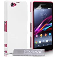 Yousave Accessories Hybrid Hardcase Cover für Sony Xperia Z1Compact, Weiß