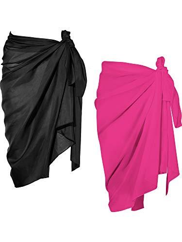 2 Pièces Wrap de Plage de Femmes Sarong Couverture de Bikini Jupes Wrap pour Maillot de Bain en Mousseline (Noir et Rouge Rose, Long A)