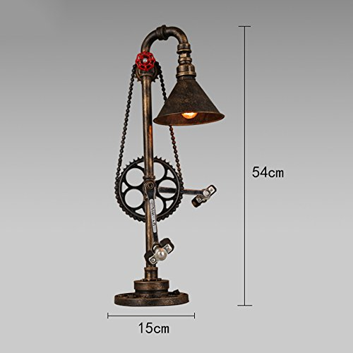 Compare Prices for wshfor Retro Desk Lights,E27 Do The Old Color Lampshade, High Quality Iron Art Chassis, Simulation Bike Pedal ,110-240 Volt Voltage ,Bedroom Bed Metal Chain Water Pipe table Lamp Reviews