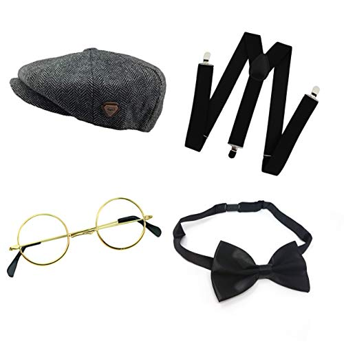 Seemeinthat Erwachsenen-Kostüm für Großvater, mit Flacher Kappe, Schwarze Hosenträger, Fliege, Goldfarbene Brillen