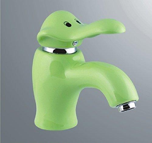 SADASD Grifo de lavabo de cobre para baño contemporáneo, cerámica, diseño de dibujos animados, color elefante, verde, lavabo, grifo mezclador, bobina de cerámica, un solo