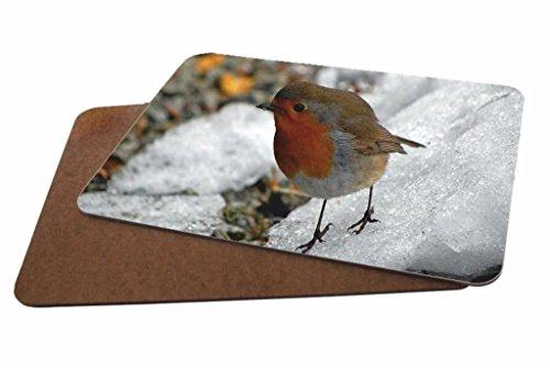 Robin Redbreast Vogel glänzend Set von 4Untersetzer aus Holz Bild # 43 (Robin Fahrrad)