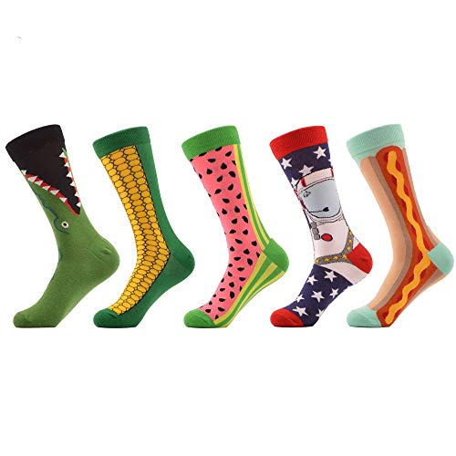 FHCGWZ 5pcs/set Women's Funny Combed Cotton Crew Socks Corn Space Man Watermelon Pattern Novelty Ladies Casual Trendy Socks