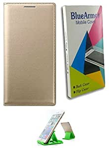 BlueArmor Leather Flip Cover Case for Lava X46 4G - Gold & Mobile Stand