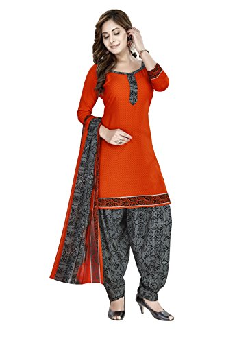 Raghavjee Sarees Women's Crepe Georgette Unstitched Dress Material (Orange_Free Size)