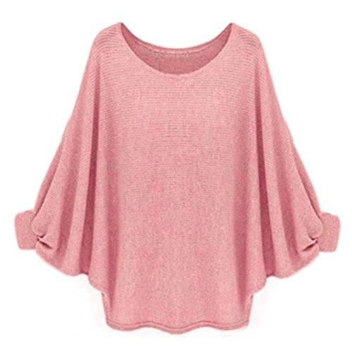 ♥ Loveso ♥ -Damen Outwear Frauen-Normallack-übergroßer Fledermaus-gestrickter Pullover-lose Strickjacke (Einheitsgröße, Pink) (Langarm-shirt Flag)