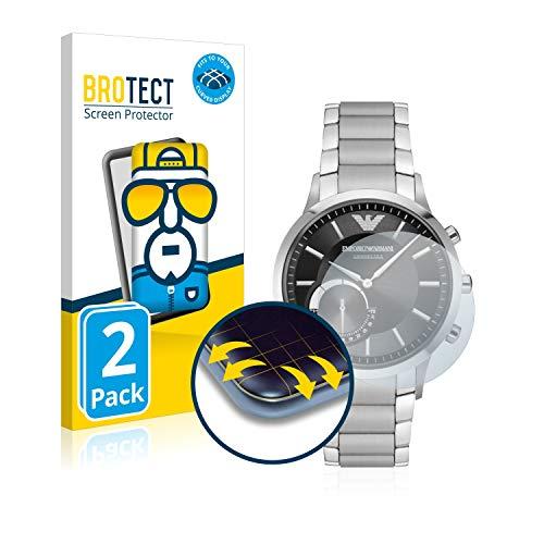 brotect Protector Pantalla Completa Compatible con Emporio Armani Connected Smartwatch Hybrid (2 Unidades) 3D Curvo
