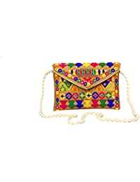 HOME ART 9 Women's Sling Bag (Embridered Handicraft Traditional Sling Bag,Multi-Coloured)