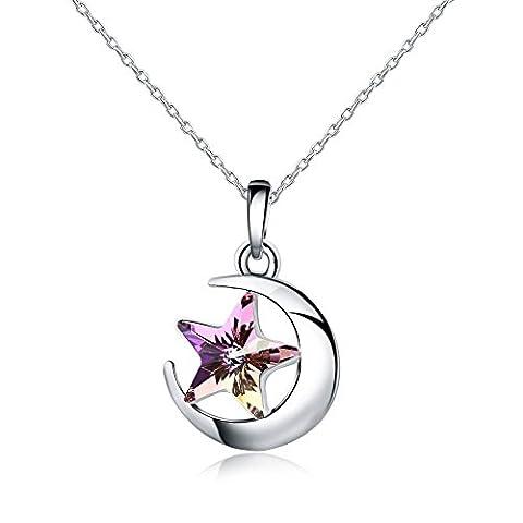 925 Sterling Silber - Österreichischen Kristall SWAROVSKI - Star Halskette Anhänger Ketten Damen (Opal Modeschmuck)