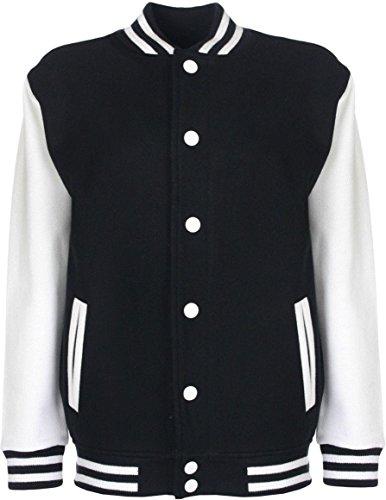 College-Jacke/Freizeitjacke - für Damen und Herren Farbe Schwarz/Weiß Größe XL