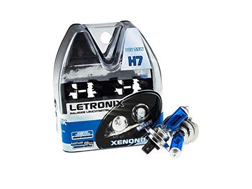 LETRONIX Halogen Auto Lampen H7 12V 8500K Kalt Weiß Xenon Optik Gas Ultra White Look Birnen Lampe Abblendlicht Nebelscheinwerfer Fernlicht Kurvenlicht Zulassung E-Prüfzeichen (LED Optik) (H7 55W) (H7 Led-nebelscheinwerfer)