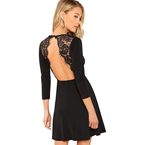SOLY HUX Damen Spitzen Rückenfrei Kleid A Linie Kleid Langarm Ballonkleid mit Reißverschluss Schwarz XS -