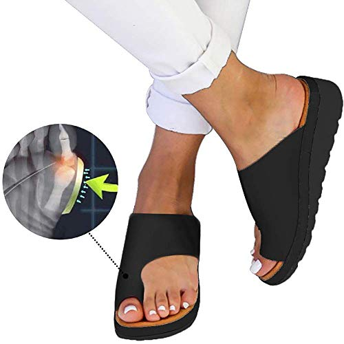 Wahpy Neu Damen Sommer Orthesen Hauschuhe Peep-Toe Schuhe Keilabsatz PU Leder Sandalen Bequem Flach Strandschuhe,Black,38 -