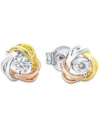 Amor Damen-Ohrstecker 8 mm Knoten Tricolor 925 Silber teilvergoldet Zirkonia weiß
