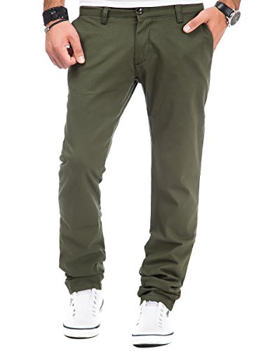 Chino Hose Herren Tazzio Chinohose Blogger Jeans Denim Herrenhose Stoff Business Khaki W34/L32