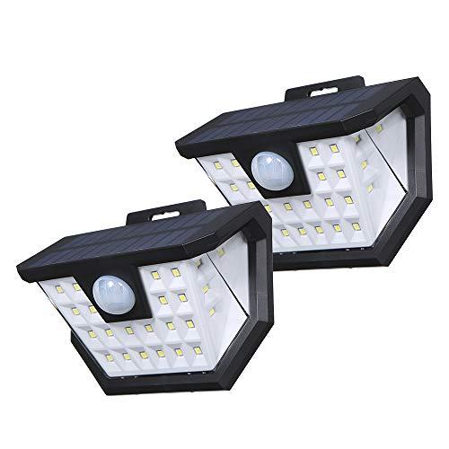 Tomshine Luci Solari Applique ad alta luminosità 2x28 LED, Luce Solare LED Esterno Impermeabile IP65