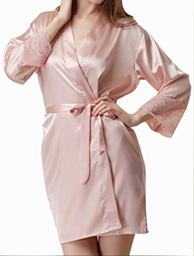 HorBous 1 Stück Plus Size Frauen Seide Bademantel Robe Lange Satin Robe Kimono Pyjamas Nachthemd Robe Dress ((130-150kg), ()