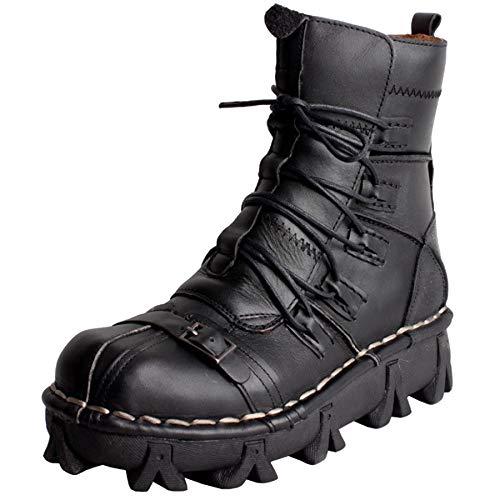 MERRYHE Herren Martin Stiefel Large Size Echtes Leder Stiefeletten Cowboy-Schuhe Cosplay Film Abendkleid Halloween Short Boot,Black1-47 -