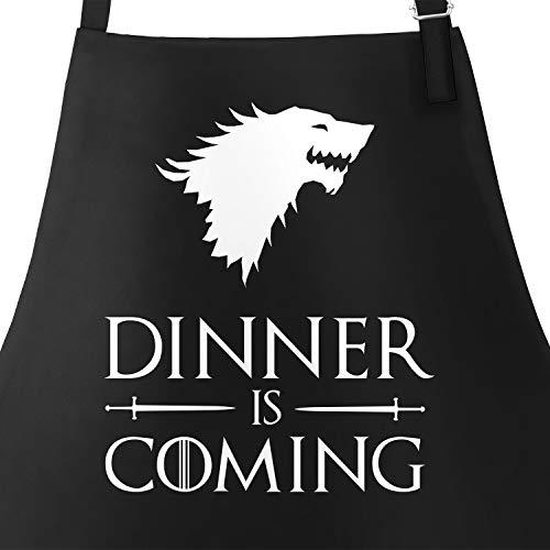 �rze für Männer mit Spruch Grillen Dinner is Coming Baumwoll-Schürze Grill-schürze Küchenschürze schwarz Unisize ()