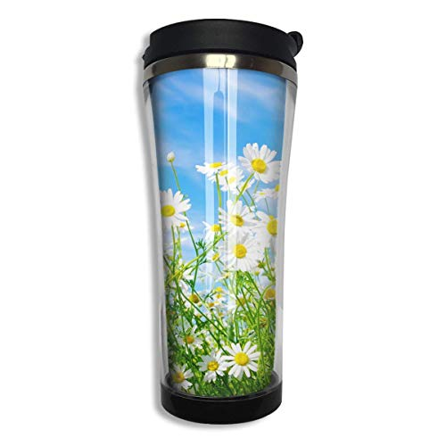 Stainless Tumbler Travel Mug Spring Daisy Flower Gift Food Grade ABS Mug Insulated Both Cold & Hot Beverage Cup -420 Ml Men,Women Daisy Tumbler