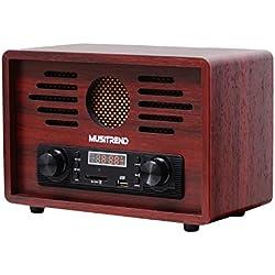 MUSITREND Radio de sobremesa, Radio estéreo retro (reproductor de MP3, radio USB/SD/FM/AM, diseño vintage) - Madera