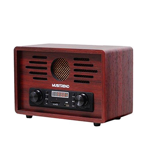 MUSITREND Nostalgie Retro-Radio MP3 Player, AM/FM Kristallklarer Klang und USB/SD Player im Holzgehäuse, Rotwein