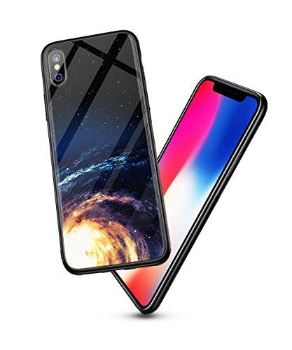 Cover iPhone X/10, PRO-ELEC Custodia Rigido Vetro Temperato+Morbido TPU-Cielo Stellato