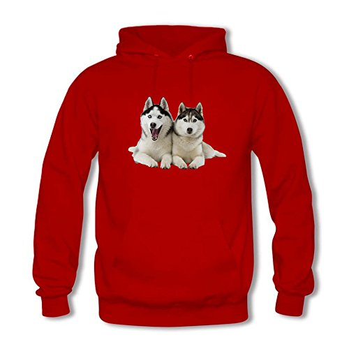 Men's Hoodies Sweater wolf dog partner Head printed Pullover Tops Blouse Red XXL (Camo Red Head)