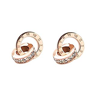 awhao-es Joker Stud Earrings Silver Plated with 18 Carat Gold, Anti-Allergic, Steel, Titanium, Pink, Gold, Precious Stone, Women