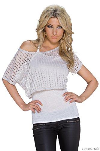Fashion4Young 5499 haut-combinaison sexy pour femme top t-shirt 2 en 1 disponible en 5 couleurs Noir - Grau Weiß