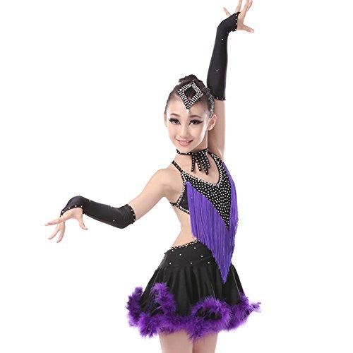 GBDSD Kinder Latin Dance Kostüm Kleid Erwachsene Samba Performance Kleidung Mädchen Latin Quasten tanzen Rock , purple , (Latin Kinder Dance Kostüme)