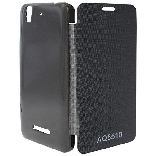 DMG Premium Flip Cover Case for Micromax Yureka Yu YUREKA AO5510 Mobile (Black) + Matte Screen