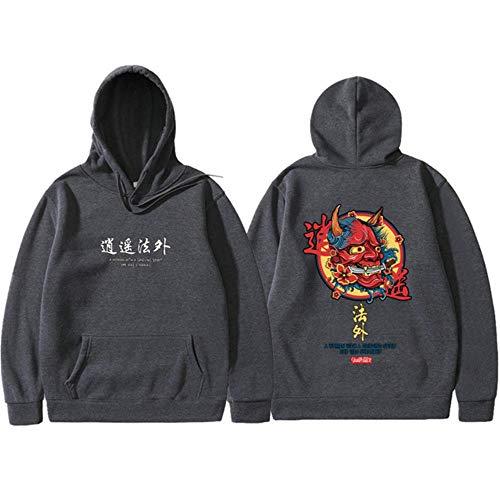 XIELH Männer Coole Männer Hip Hop Hoodies Style Koi Casual Sweatshirts Streetwear Männer/Frauen Pullover, Dunkelgrau 2, XXXL