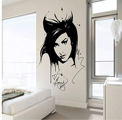 Myvovo amy winehouse adesivo sticker bellezza parrucchiere vinile interior home decor murale rimovibile living room decor sticker 42 * 62cm