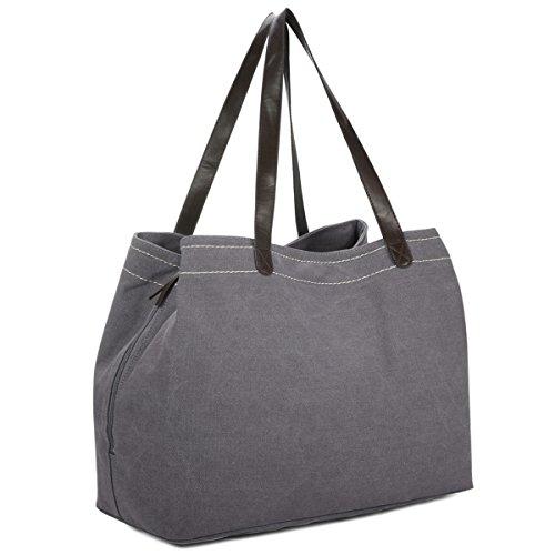 Damen Schultertasche, Gracosy Vintage Handtasche Canvas Umhängetasche Shopper Tasche Leinentasche Totes Hobo Bag für Arbeit Schule Reise Grau -