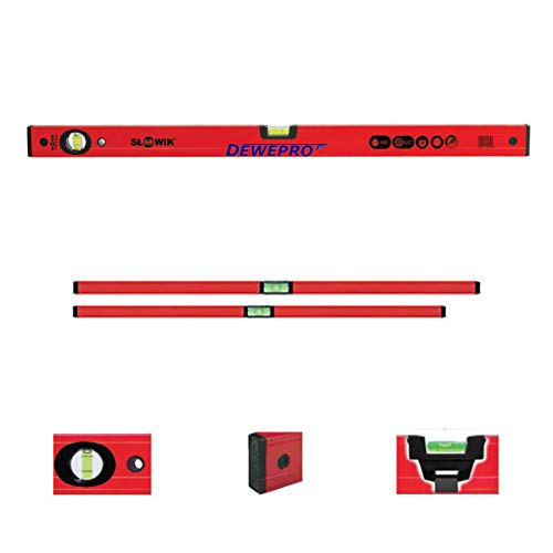 DEWEPRO 2-tlg. Profi-Set - Aluminium Wasserwaage - rot lackiert - 2-teilig - Längen: 100cm + 200cm - Messtoleranz: 0,5mm/m - Aluwasserwaage Aluminiumwasserwaage