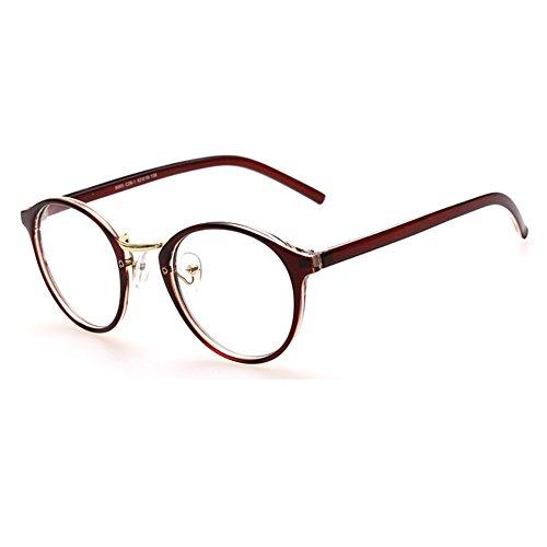 Hibote Männer Frauen Gläser - Klare Linse Brillengestell - Runde Brillen + Brillenetui kostenlos 122806