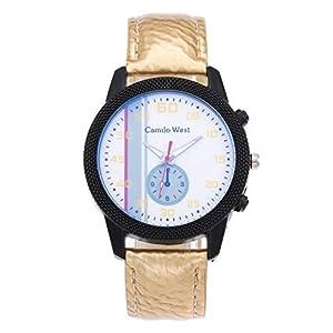 Carrymee Uhren Unisex Armbanduhr Qualität Leder Armband Watch mit Einem Dornschließe Klassische Analog Quarzuhrwerk Uhr Mode Glaslinse Legierung Gehäuse Herrenuhr Elegant Zifferblatt Damenuhr