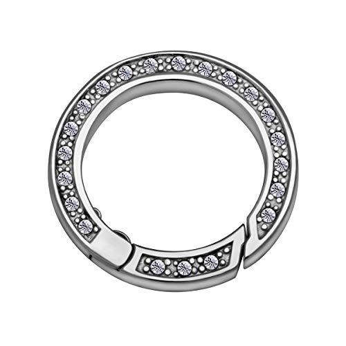Quiges Clip Ring Carrier Edelstahl 22 mm Edelstahl Verbindungsring für Kette und Coin Anhänger mit Kristall Zirkonia