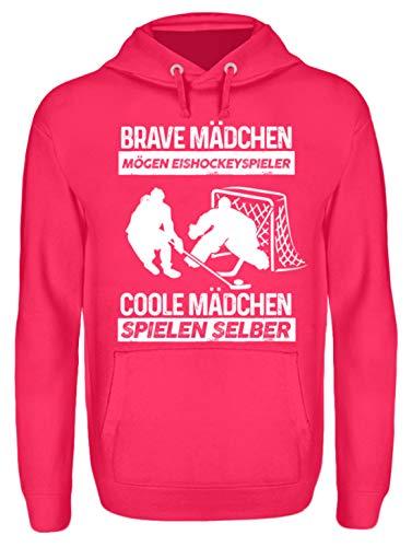 Frau Schläger-tank-shirt (Shirtee Brave Mädchen mögen Eishockeyspieler, Coole Mädchen Spielen selber Frau Eishockey-Spielerin Geschenk - Unisex Kapuzenpullover Hoodie -M-Hot Pink)