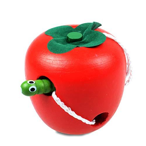 Beito Holz Kinder frühe Lernspielzeug Threading Spielzeug Holz Obst Wurm Essen Obst Apfel Vorschul Aktivität Spielzeug für Baby-Kind-Kind-Jungen und Mädchen als Geschenke (Holz-threading)