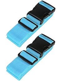 Correas de Equipaje Cinturones de Maleta, RFWIN Ajustable Negro Viajar Embalaje Cinturón con Hebilla Cierre