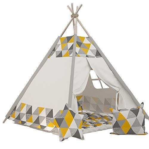 Tipi INDIANERZELT SPIELZELT ELFIQUE ONE MIT DOPPELT GEPOLSTERTER Decke (Zelt mit Decke) (Zelt GELB) (Gelb-decken)
