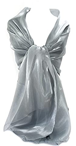 GFM Sheer Shimmer Iridescent Long Size Scarf Wrap (SA)(SHIM-LP-CH-0) Evening Wear,Wedding,Bridesmaids,Bride,Prom - Avail in Silver Gold Navy Blue Pink Grey Purple etc