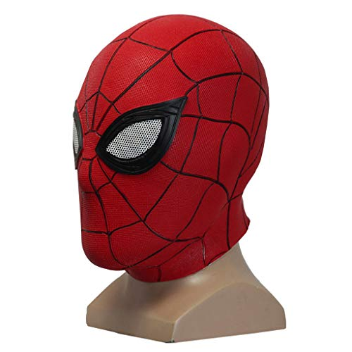 Thor 2 Kostüm Avengers Kind - QWEASZER Spider-Man: Far from Home, Marvel Avengers Red Spiderman Vollgesichts-Latexmaskenhelm, Kopfbedeckung, Movie Cosplay-Zubehör, Halloween-Kopfbedeckung,Red-OneSize