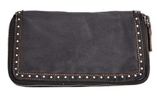 Damen Geldbörse lang mit Doppel-Reißverschluss Voll-Rind-Leder Jockey Club Shabby Chic Used Optik Vintage Style dunkel braun -