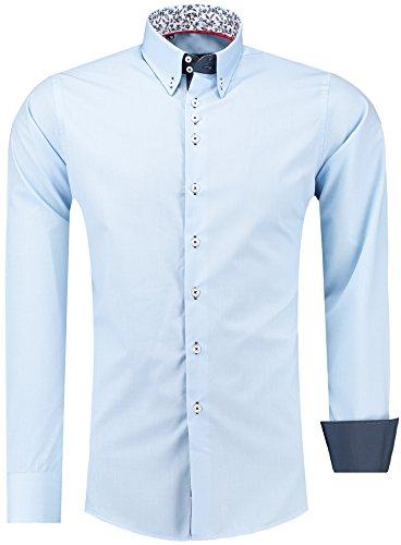 BARBONS Outlet Herren Hemd Slim FIT - Langarm - Premium Bügelleicht Hemden für Business, Freizeit, Hochzeit, Party für Männer - Blau/Blumen Collar 2XL