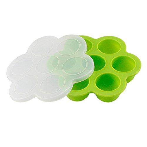 zhouba Silikon entwöhnen Babynahrung Gefrierschrank Tablett mit Deckel tragbar Container BPA-frei, Silikon, grün, einheitsgröße