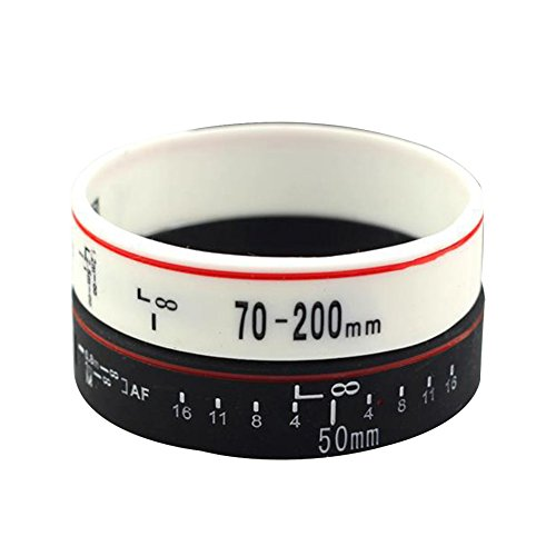 SpringPear® 1 Paar Silikon Armbänder Zubehör der Kamera Optik Muster Breit für Damen Herren Unisex Fitness Accessoire Silikonarmband Powerarmbänder als Schmuck Zahl 2 Stück